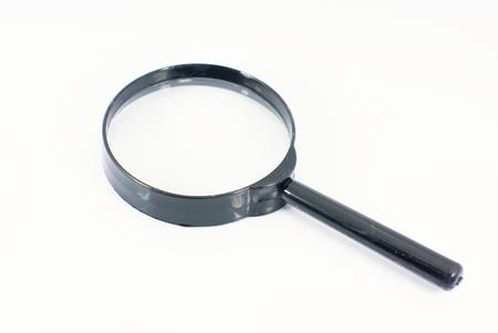 low scale magnification: Magnifying glass isolated on white Stock Photo