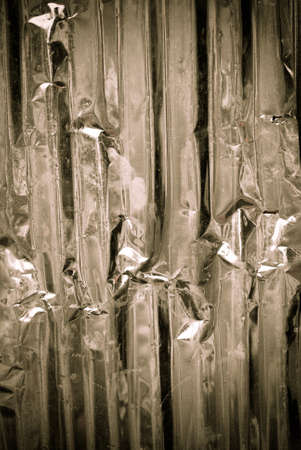 Galvanized corrugated iron in dark light background photo