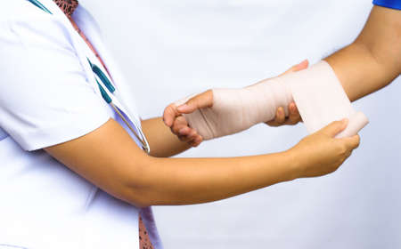 elbow bandage support: Bandage, Medical concept Stock Photo