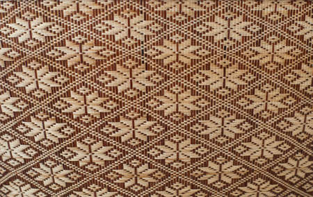 rattan mat: Old woven wood pattern Stock Photo