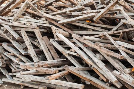 demolished house: Wooden planks of a demolished house