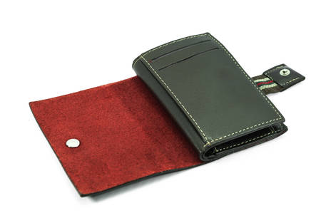 Leather cards holder on a white background photo