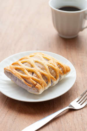 Taro Pie with coffee photo