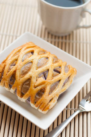 Taro Pie with coffee, relaxing time photo