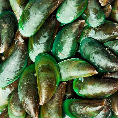 アジアの緑ムール貝が表示され、タイのストリートで販売市場は、