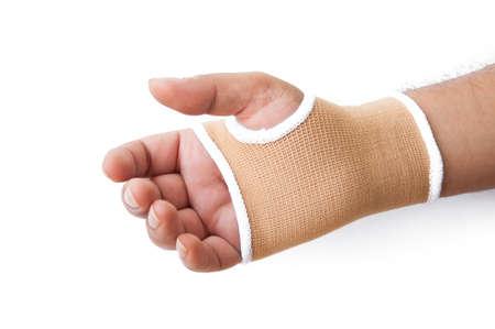 splint: Primer plano f�rula de mano para el tratamiento hueso roto aislados en blanco