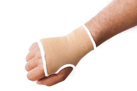 splint: Primer plano f�rula de mano para el tratamiento del hueso roto aislados en blanco