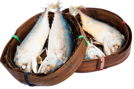 Thai Mackerel fish in the bamboo basket photo