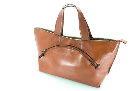leather woman: Nice elegant leather woman bag isolated on the white