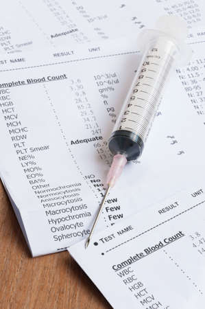 summaries: Medical background. Syringe against a background of medicine, laboratory diagnostics, therapy