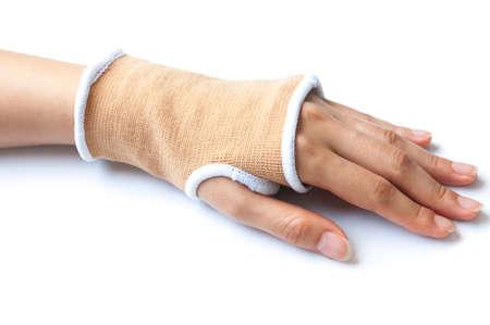 splint: Close-up hand splint for broken bone treatment isolated on white background Stock Photo