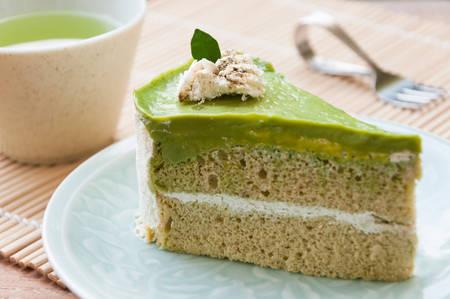 日本の抹茶緑茶ケーキ、紅茶、ケーキ