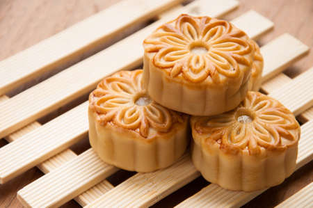 mooncake , traditional chinese foods during mid autumn festival photo