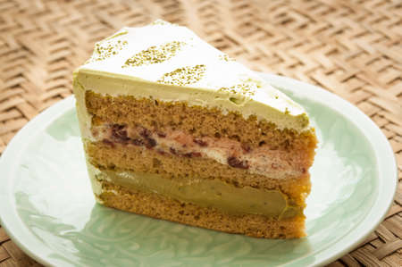 Japanese confectionery, Macha Cake Castella Stock Photo