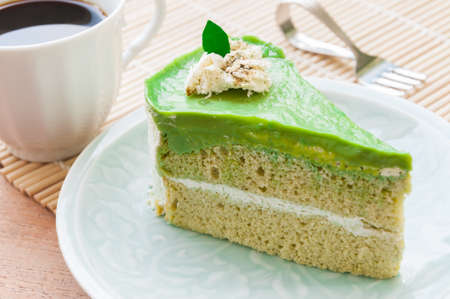 matcha: Japanese Matcha Green tea cake, tea and cake Stock Photo