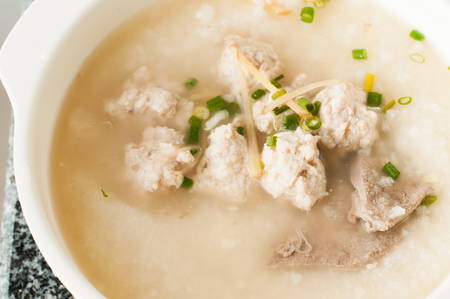 Asian style breakfast soft boiled rice photo