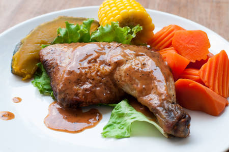 on white pepper: Grilled chicken with black pepper steak.