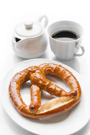 pretzel: Appetizing pretzel on white background