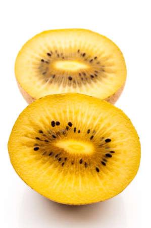 Yellow kiwi fruit on a white background photo