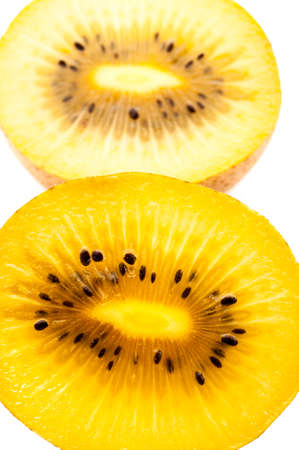 Yellow kiwi fruit on a white background photo