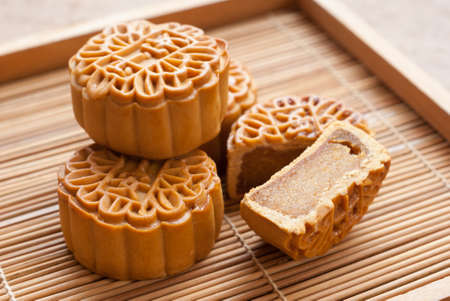 Mid-Autumn Festival moon cake on wooden board