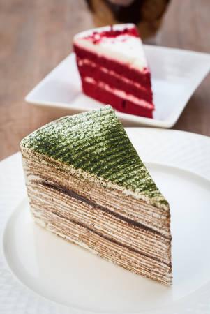 rebanada de pastel: Torta del té verde, mil capas de pastel