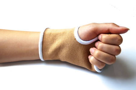 splint: Close-up hand splint for broken bone treatment isolated on white background Stock Photo