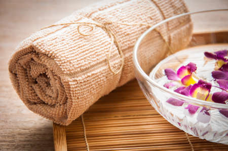 stones with flower: Spa set on mat
