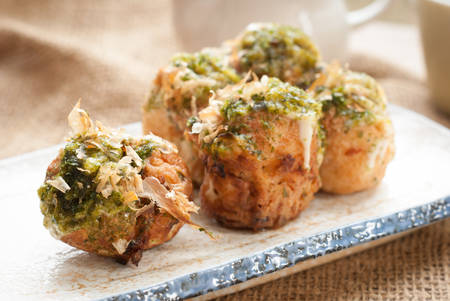 japanese background: Fried Takoyaki balls dumpling - japanese food Stock Photo
