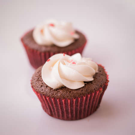 red velvet cupcake: Red velvet cupcake closeup. Filtered to look like an aged instant photo. Stock Photo