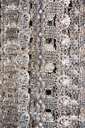 jewlery: Silver jewlery on black background