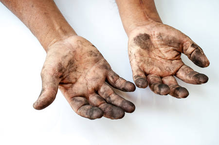 man with dirty hands Stockfoto