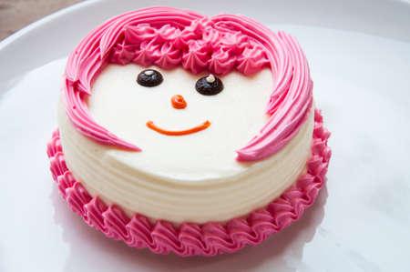ホワイト クリームのケーキ 写真素材
