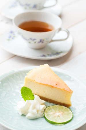 afternoon break: Gourmet dessert cheese cake and tea