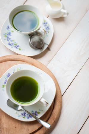 tea time: Afternoon tea green tea Top view Stock Photo