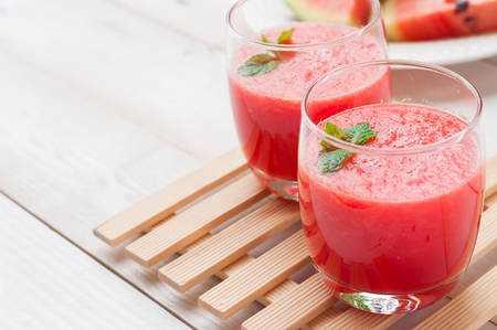drink and food: Fresh watermelon juice in the glass.Selective focus on the front glass