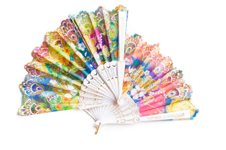 hand fan: chinese hand fan isolated on white background Stock Photo