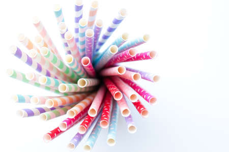 Closeup of colorful paper straws Stock Photo