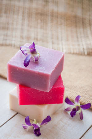 natural soap: natural soap on bright wooden background