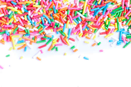 Sugar sprinkle dots, decoration for cake and bekery, a lot of sprinkles as a background Imagens