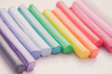 clay modeling: Rainbow colors plasticine play dough modeling clay, vintage tone Stock Photo