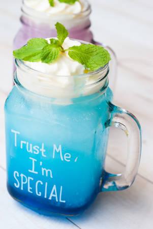 cool: cocktail glass with the Blue Hawaii, mason jar