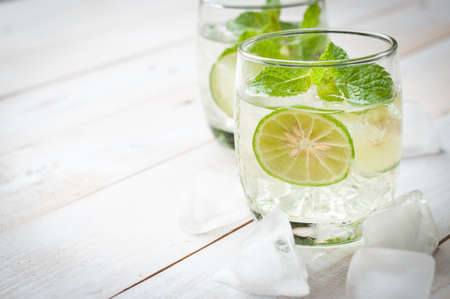 cane sugar: Mojito Lime Drink Cocktail Stock Photo