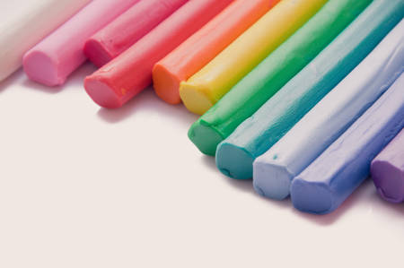 modeling clay: Rainbow colors plasticine play dough modeling clay, vintage tone Stock Photo
