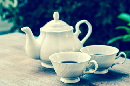 tea garden: Afternoon tea, vintage tone
