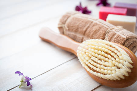 porous: Set for massage or body care procedures with different ingredients, bath set or spa treatment set Stock Photo