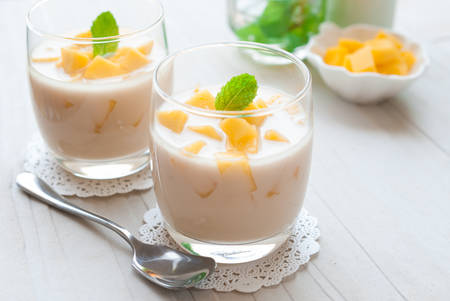 dessert: Mango Panna cotta, Italian dessert, homemade Stock Photo