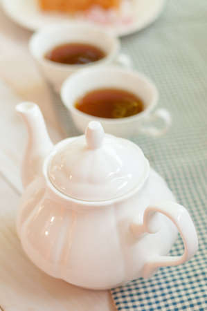 tea service: Beautiful tea service on wooden table