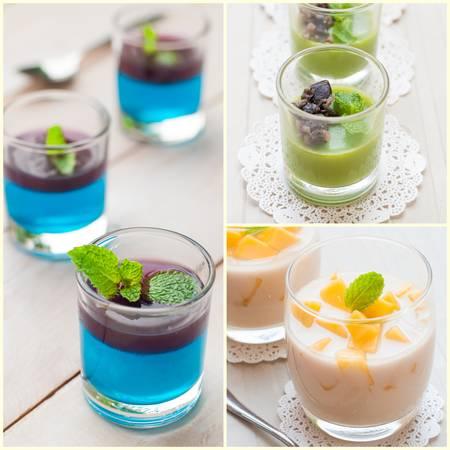 panna: Variety of Panna Cotta Stock Photo