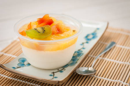 Jelly Pudding Fruit Salad on weaving wood Stock Photo